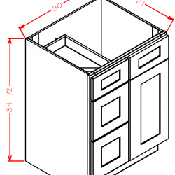 Shaker Vanity Cabinets - Combo Drawers (Left or Right)