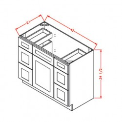 Shaker Vanity Cabinets - Double Drawer