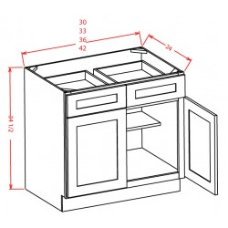 Shaker Base Cabinets - Double Door, Double Drawer