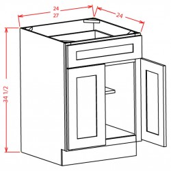 Shaker Base Cabinets - Double Door, Single Drawer