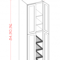 "Shaker Tall Cabinets - 4 Door Utility 24"" Wide (Rollout Shelves)"