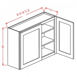 "Shaker Wall Cabinets - 30"" High Double Door"