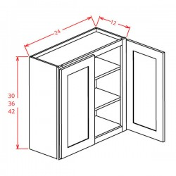 "Shaker Wall Cabinets - 30"" High Open Frame (Glass)"